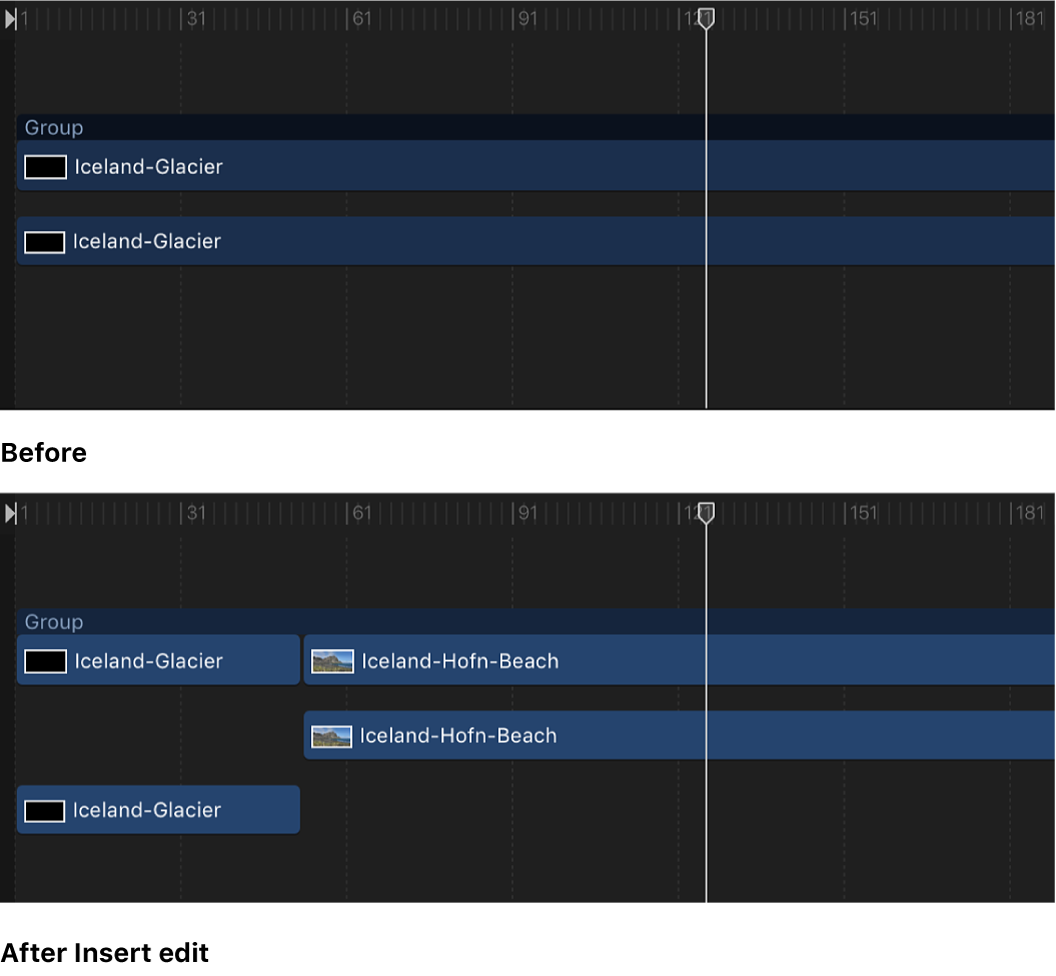 Timeline showing an object in a group, and an object inserted into that group