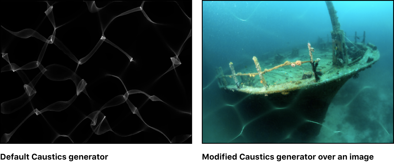 Canvas showing Caustics generator, alone and with a background image