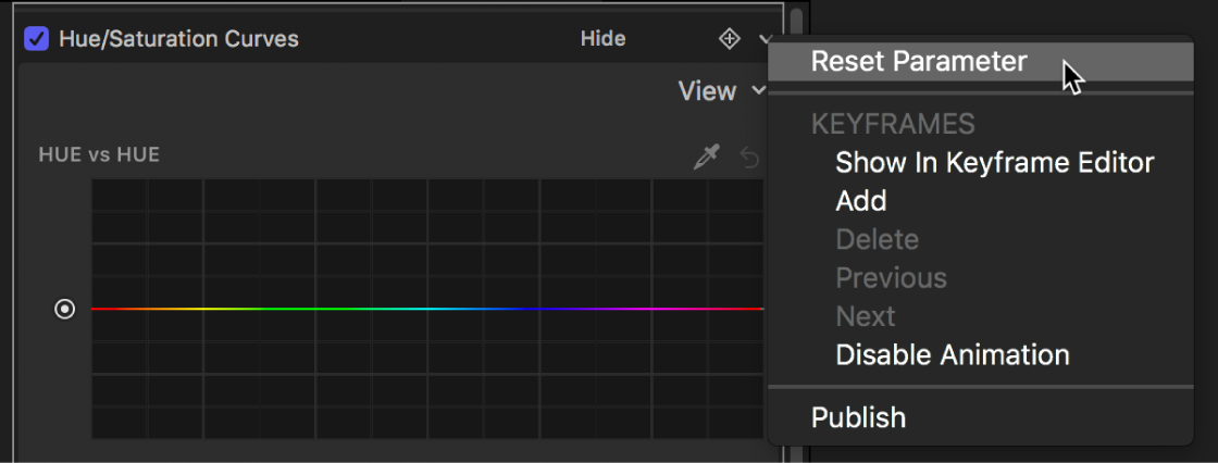 The Filters Inspector showing the Reset Parameter option in the Animation menu