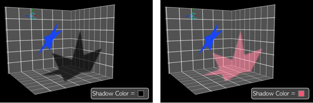 Canvas showing different color shadows with shading disabled