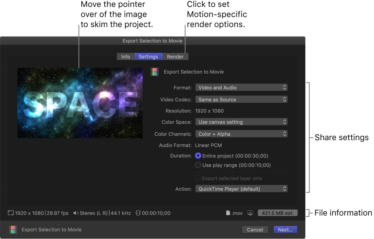 Settings pane of Export Selection to Movie window