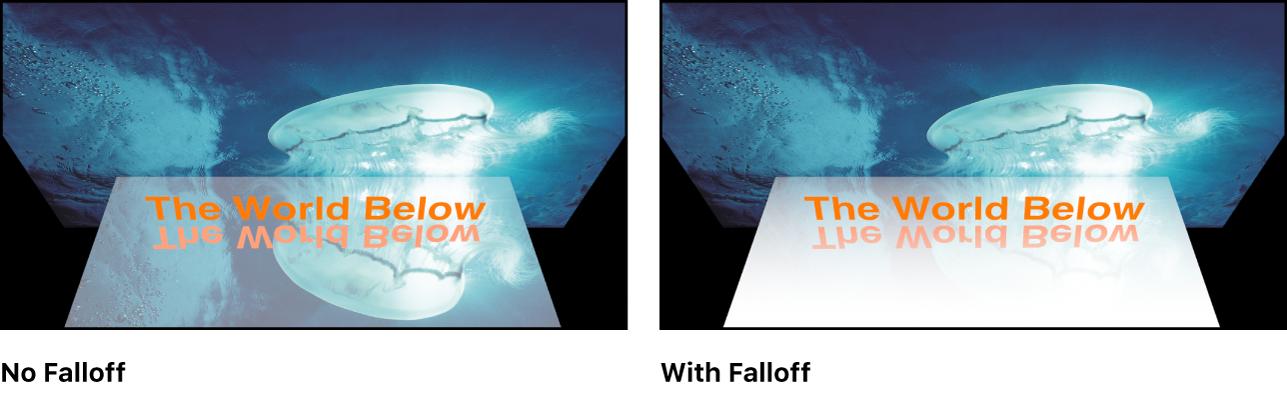 Canvas showing effect of reflection falloff settings
