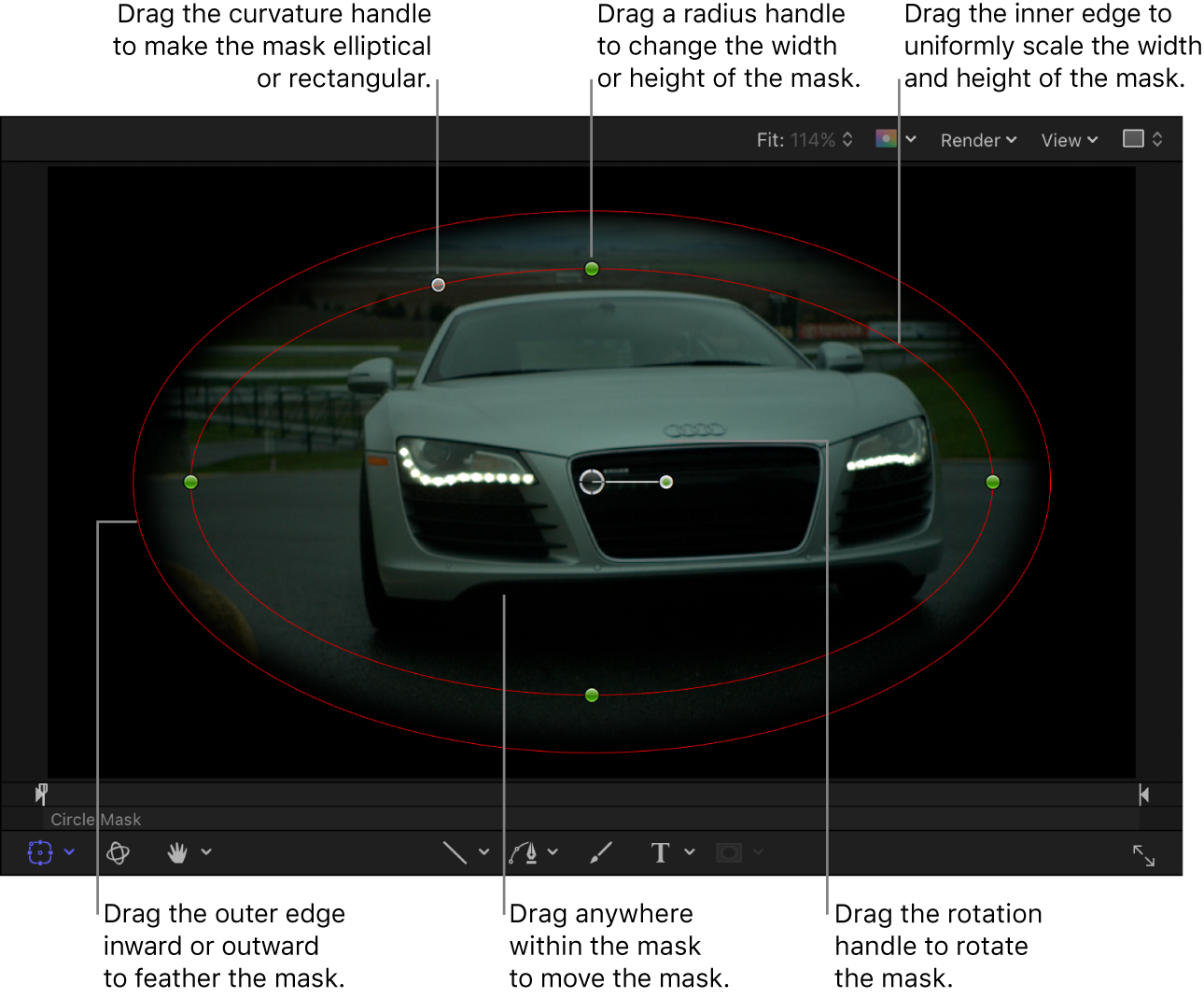 Onscreen controls to scale, feather, adjust curvature, and rotate a simple mask
