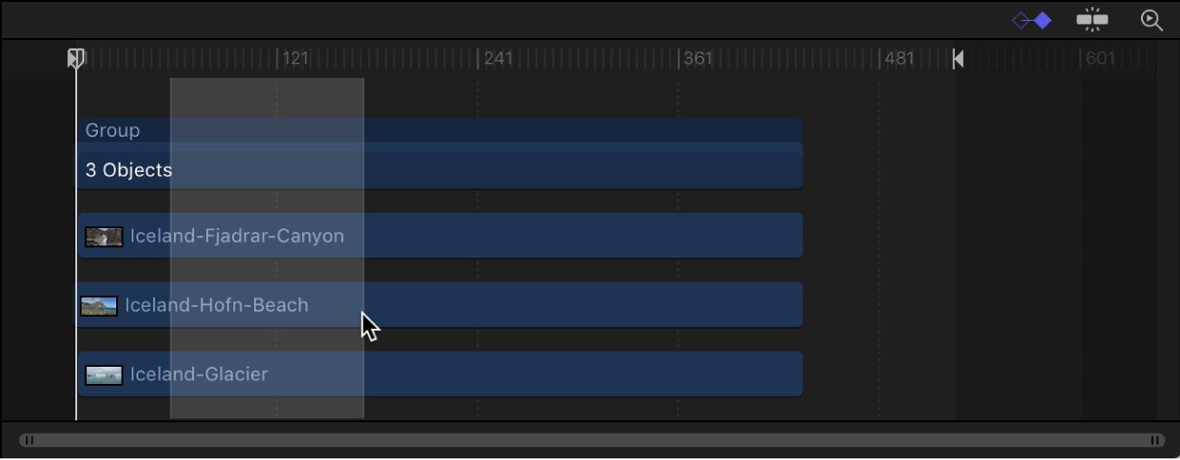 Timeline showing a selected range