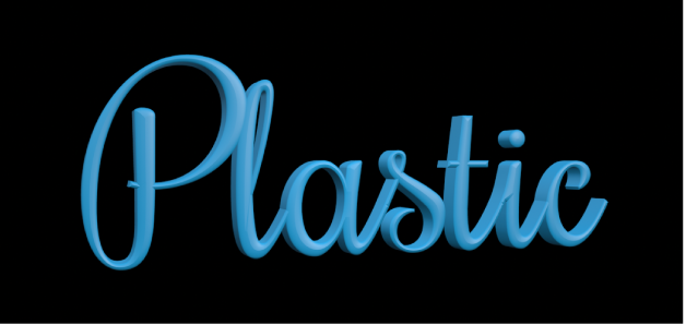 3D text in the canvas with Matte plastic substance applied