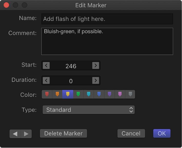 Edit Marker dialog