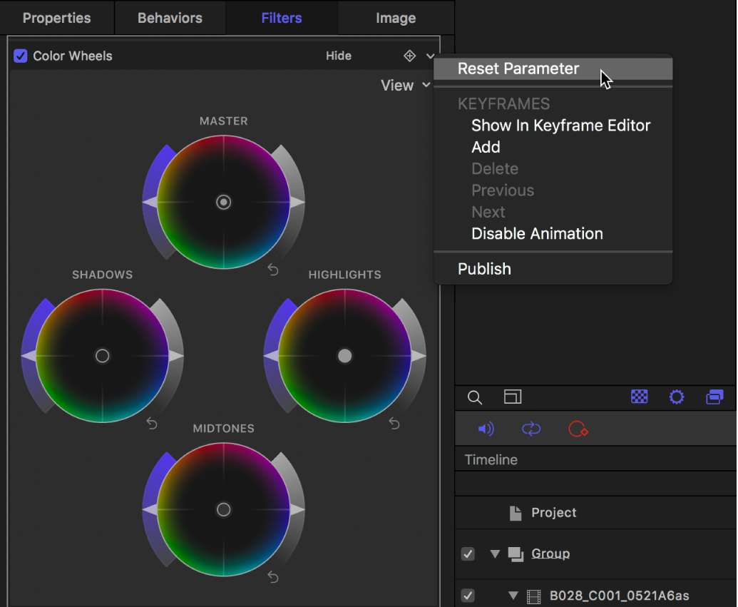 Color Wheels controls in the Filters Inspector showing the Animation pop-up menu