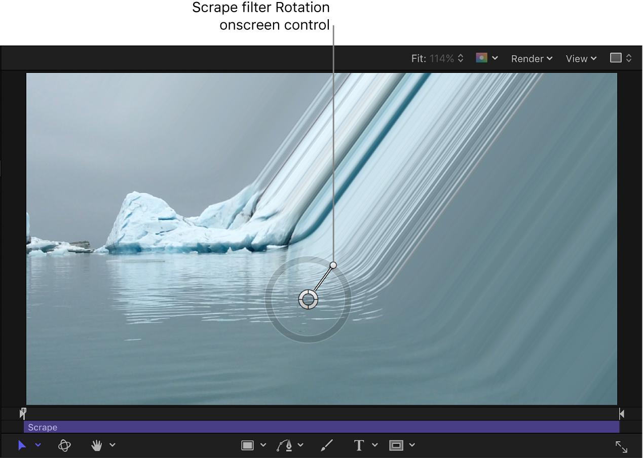 Scrape filter Rotation onscreen control