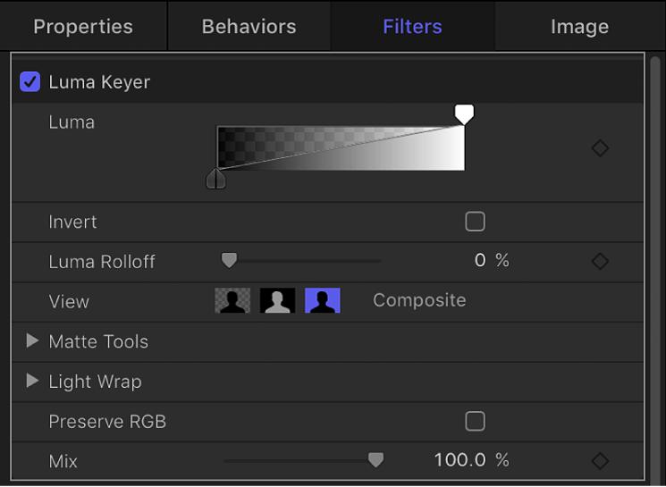 Controls of Luma Keyer filter