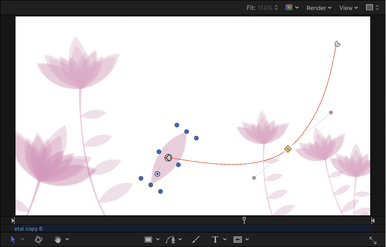 Canvas showing keyframe being repositioned