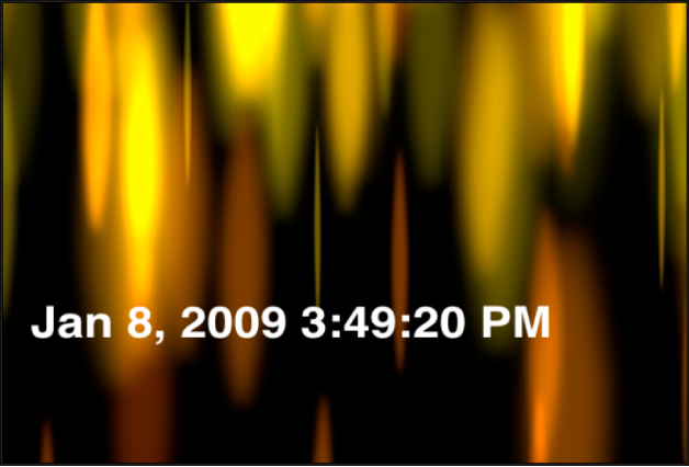 Canvas showing Time Date generator displaying date and time in hours, minutes and seconds