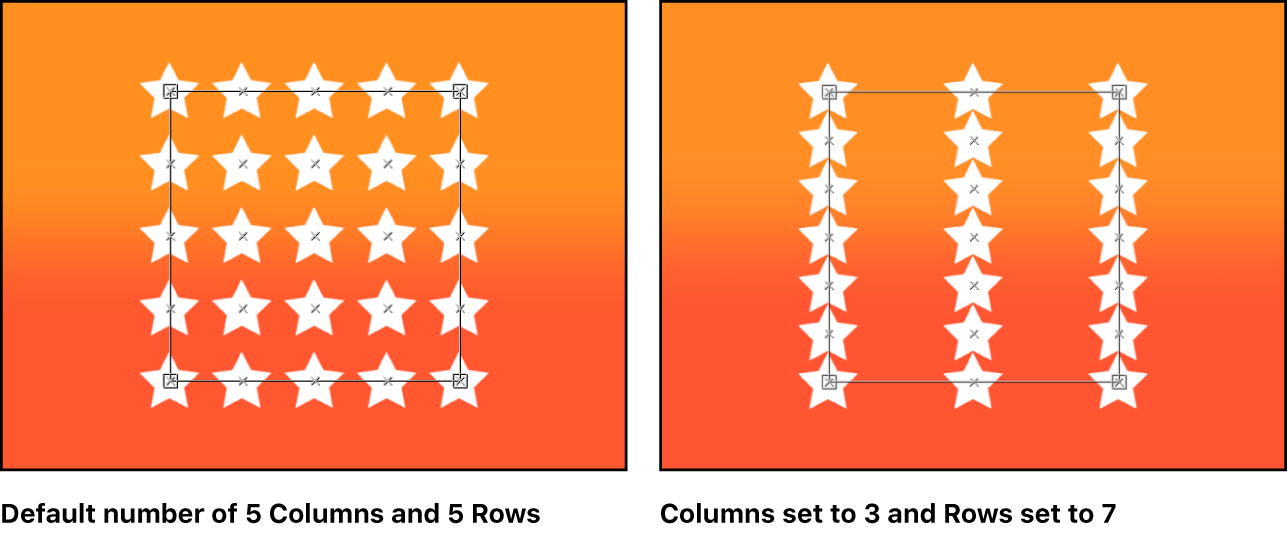 Canvas comparing replicators with different quantities of rows and columns