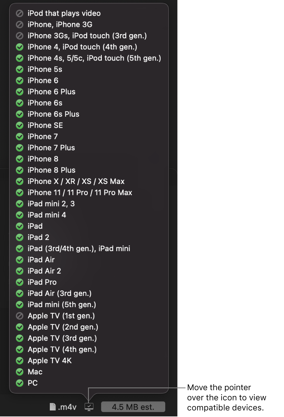 Compatible devices list in the Apple Devices share window