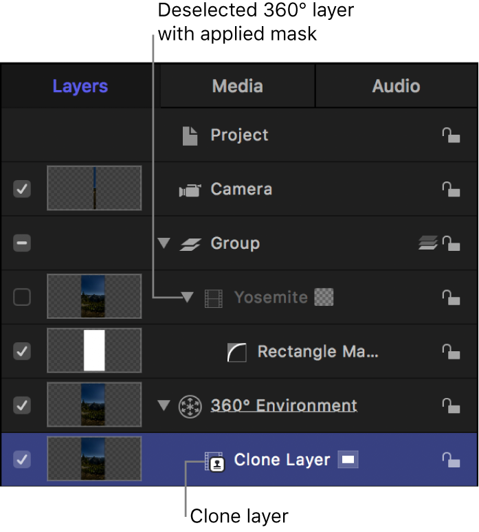 Clone layer moved into 360° Environment