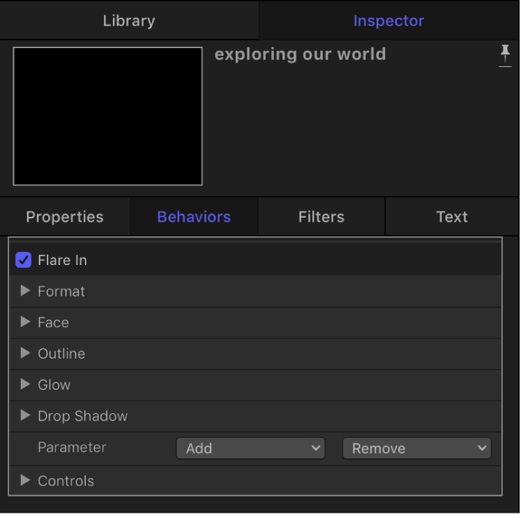 Inspector showing settings for Flare In behavior