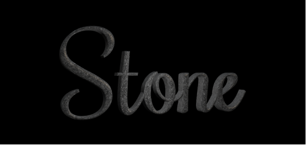 3D text in the canvas with Dark Granite stone substance applied
