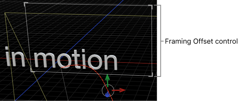 Canvas showing onscreen controls for Camera Framing behavior's Framing Offset parameter
