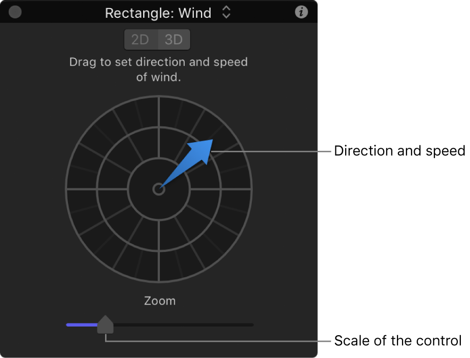 HUD showing special controls for Wind behavior in 2D mode
