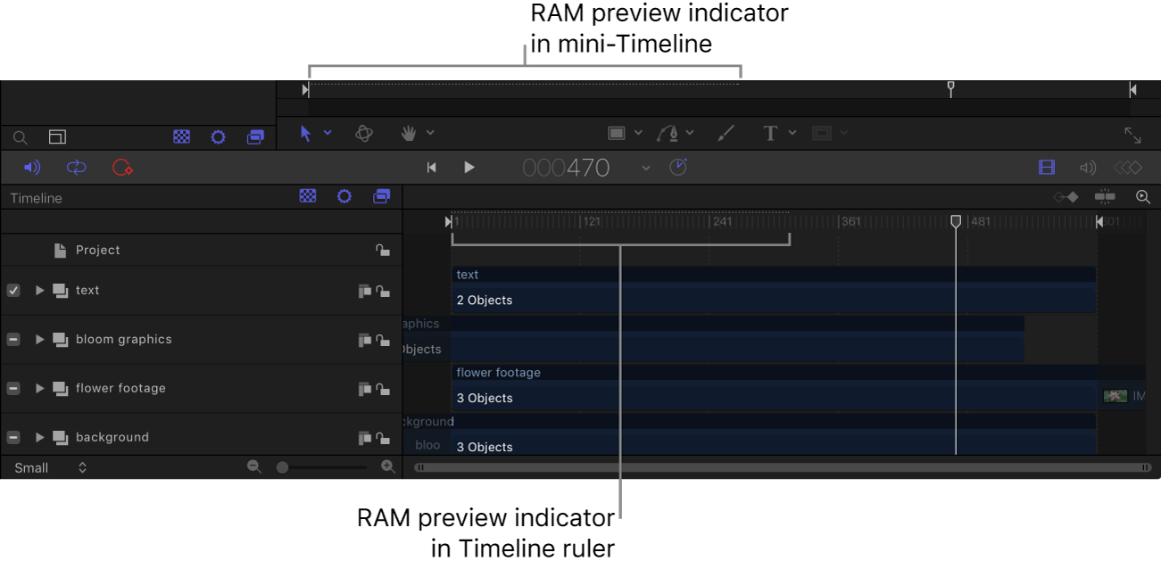 Mini-Timeline and Timeline showing RAM preview indicators