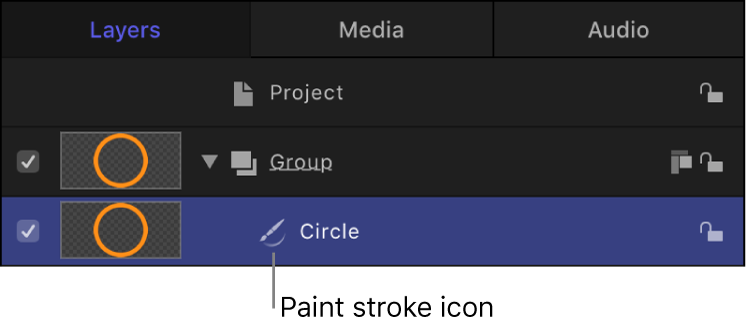 Layers list showing circle shape with paint stroke icon