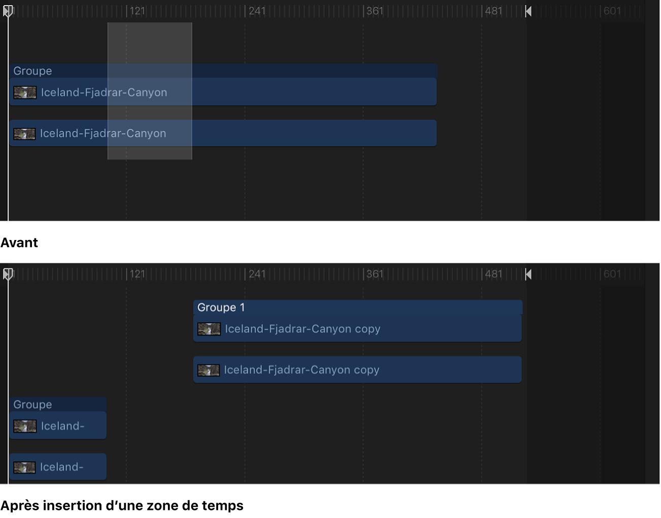Timeline affichant un espace vide inséré dans une séquence