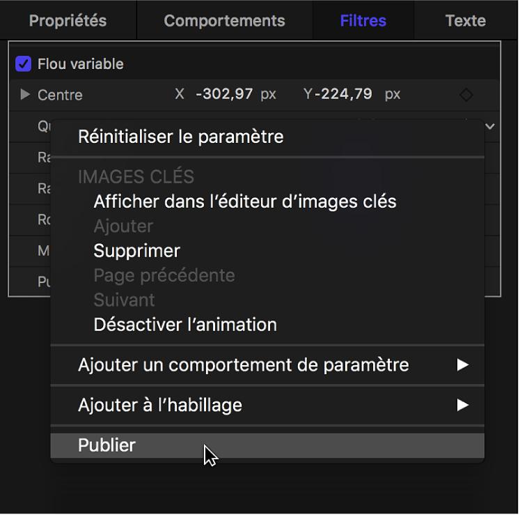 Publication d'un paramètre de filtre depuis un menu contextuel