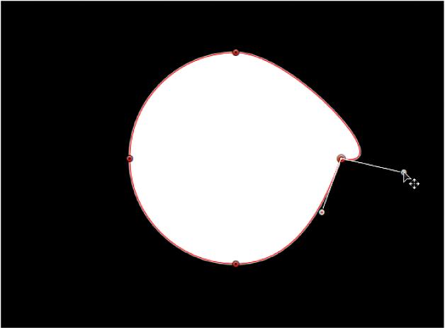 Canevas affichant une poignée de tangente tournée indépendamment de sa poignée de tangente opposée