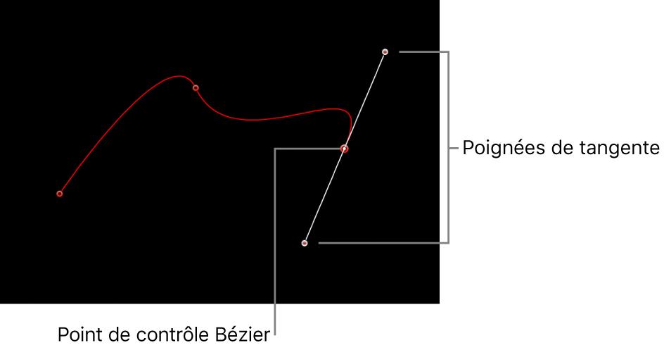 Canevas affichant un point de contrôle de Bézier et ses poignées de tangente