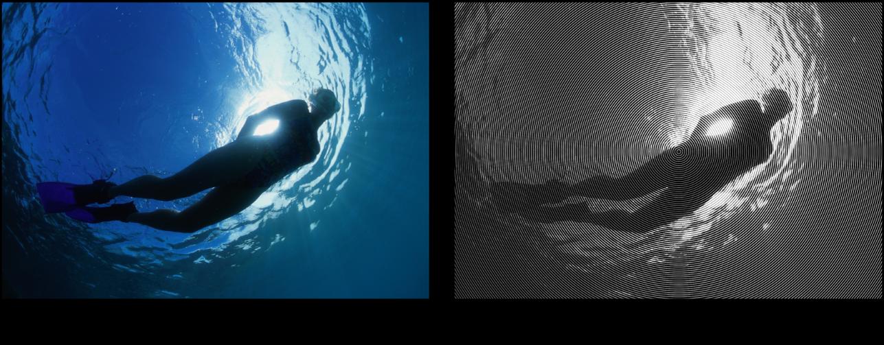 Canevas affichant l'effet du filtre Cercle sur l'écran