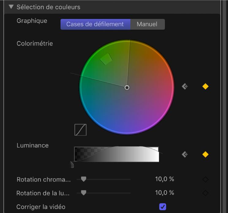 Commandes Graphique dans les commandes avancées du filtre Incrustateur