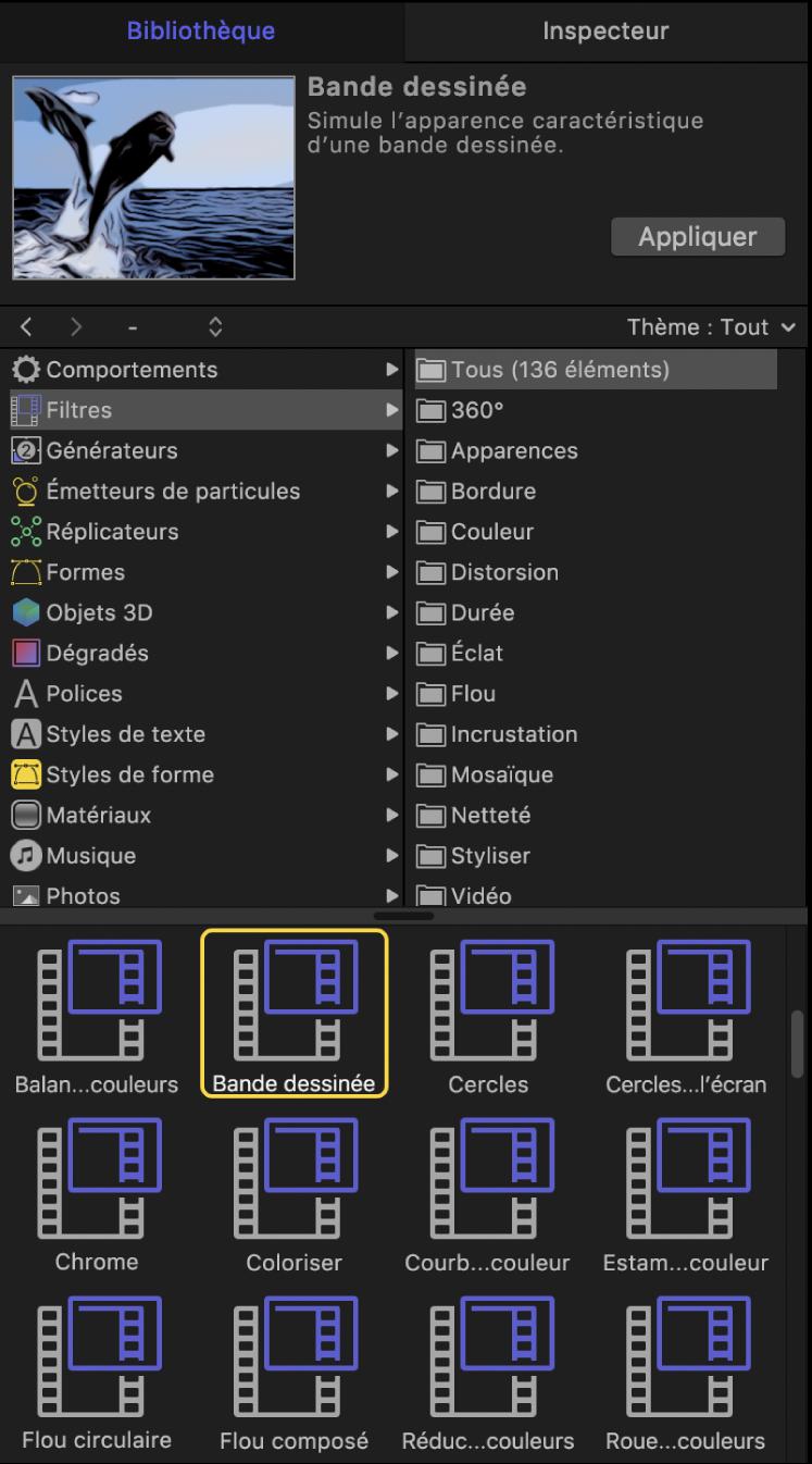 Bibliothèque affichant les catégories de filtres