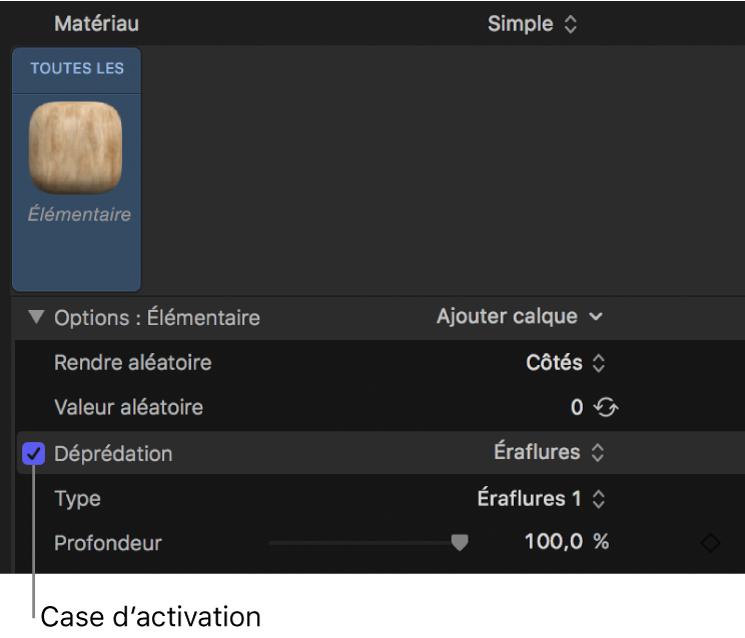 Inspecteur de texte3D affichant la case d'activation d'un calque de matériau