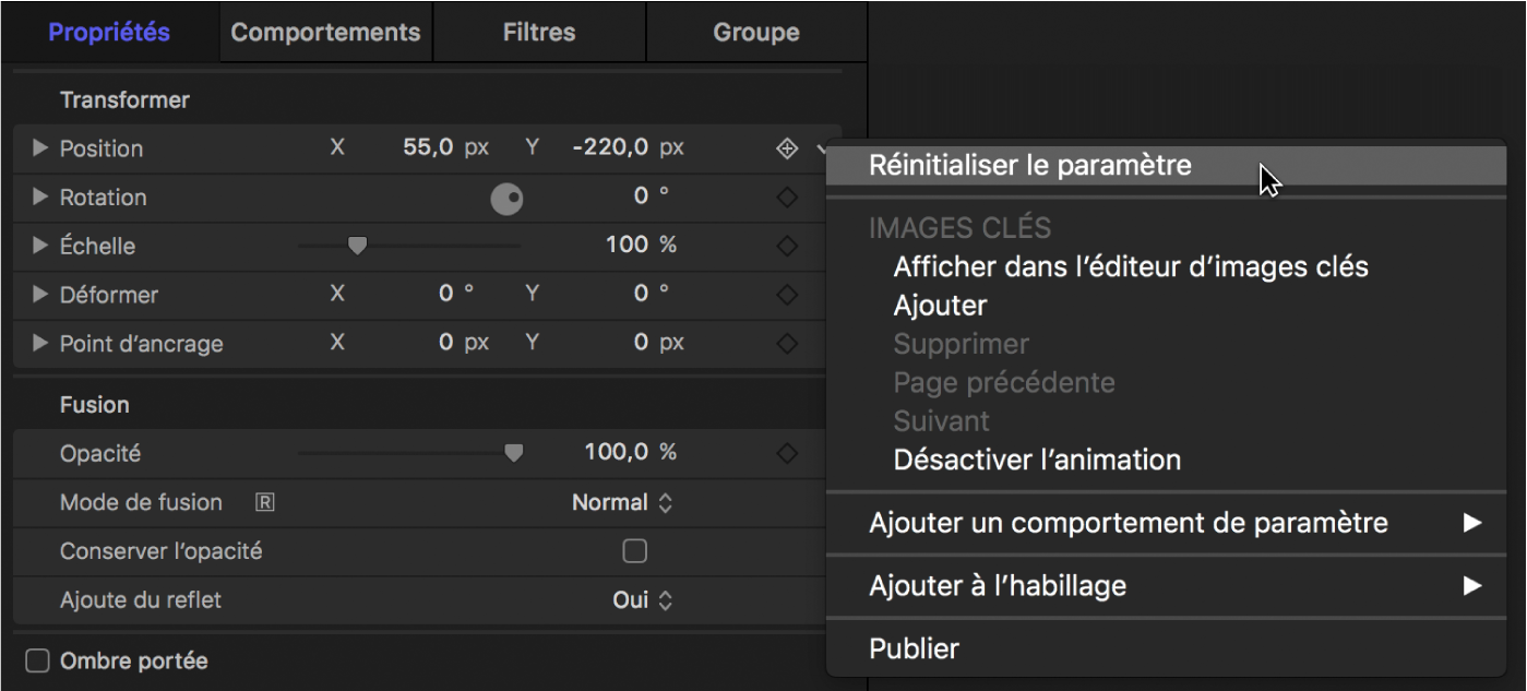Option Réinitialiser le paramètre du menu Animation
