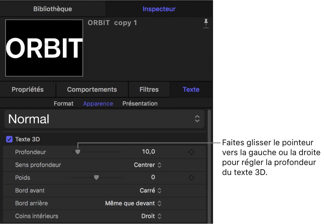 Paramètre Profondeur du texte3D dans la fenêtre Apparence de l'inspecteur de texte
