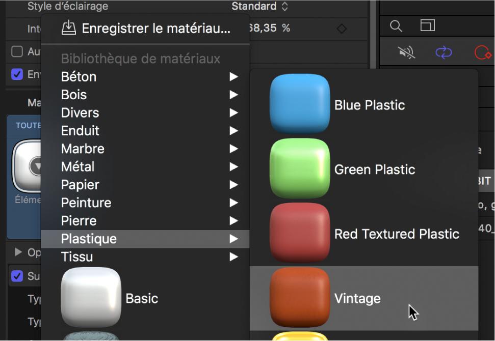 Inspecteur de texte3D affichant le menu local de préréglages Matériau