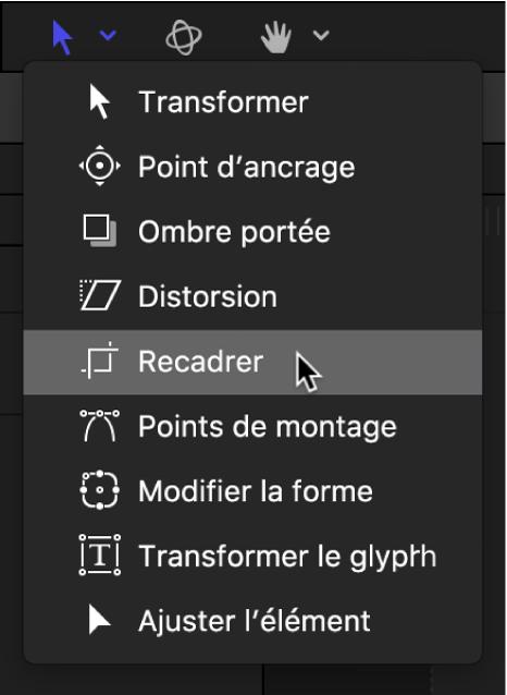 Sélection de l'outil Recadrage dans le menu local des outils de transformation