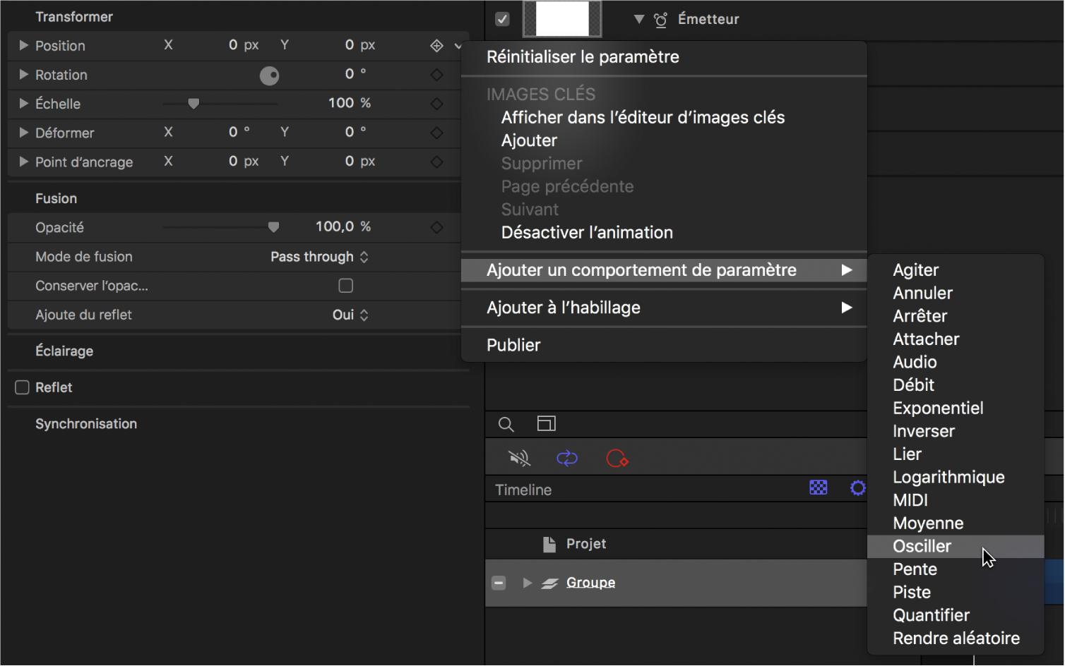 Sous-menu Ajouter un paramètre du menu Animation