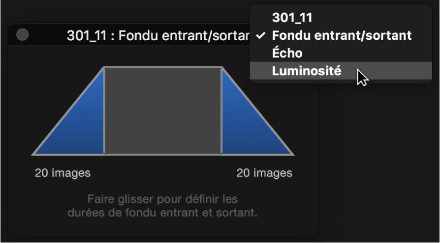 Palette d'ajustements affichant le menu local des options des ensembles de commandes