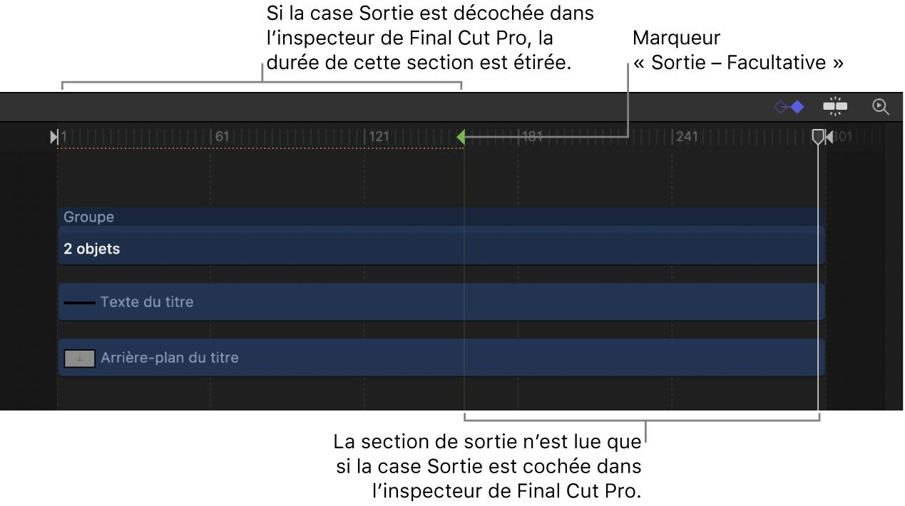 Marqueur Sortie- Facultative dans la timeline