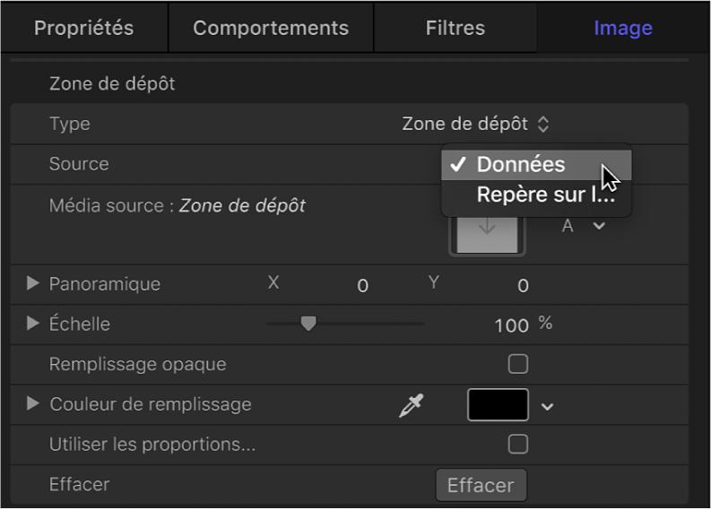 Dans l'inspecteur d'images, choisissez Média source dans le menu local Type