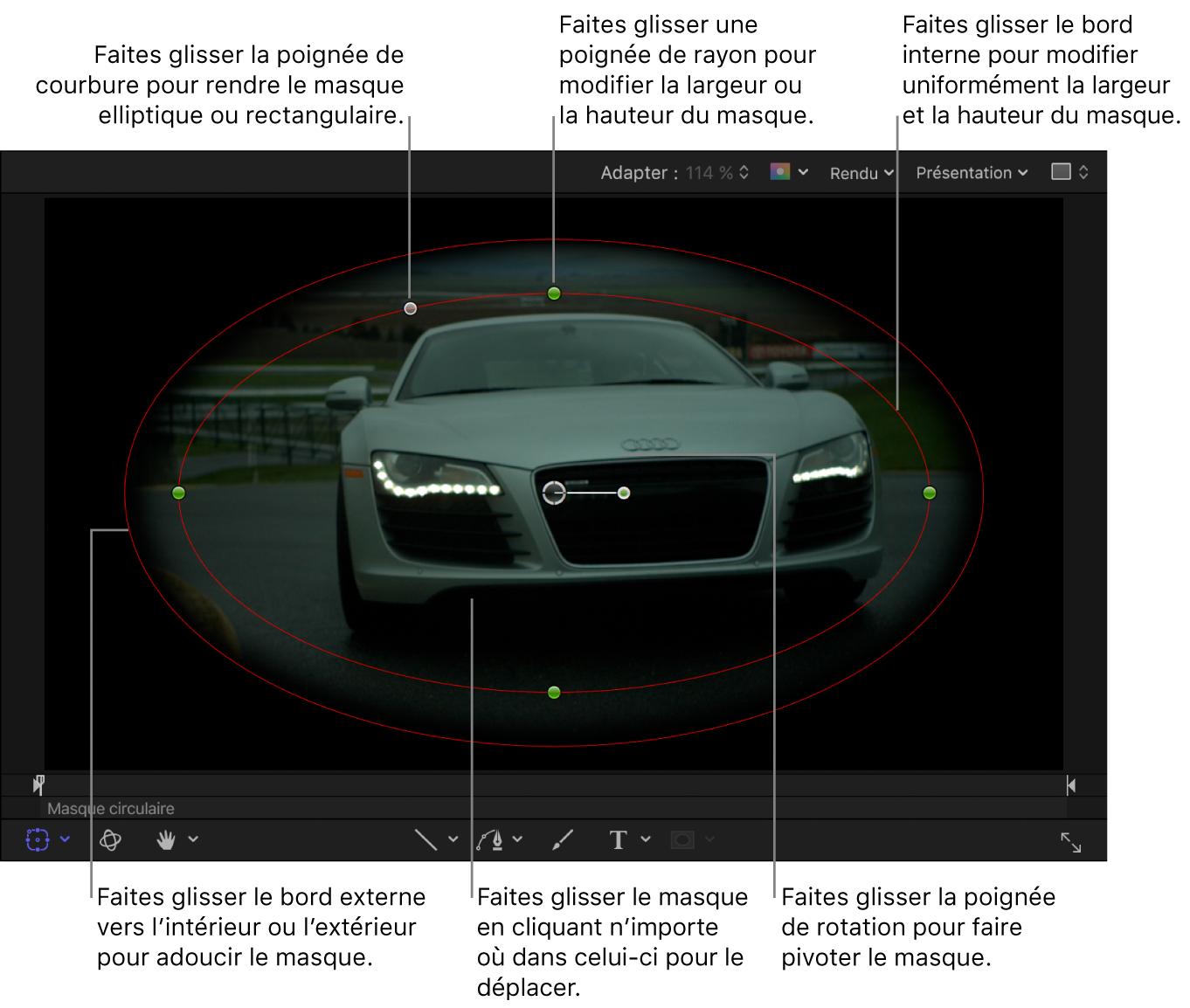 Commandes à l'écran permettant de régler la taille, l'adoucissement des bords, la courbure et la rotation d'un masque simple