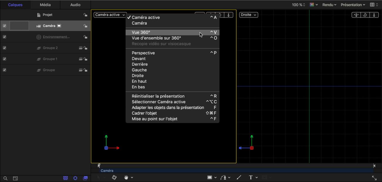 Sélectionner Vue 360° dans le menu local Caméra dans le canevas