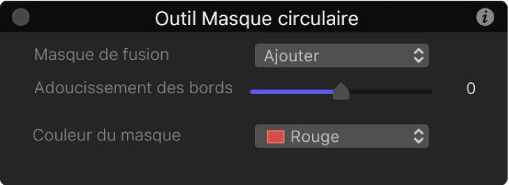 Palette de l'outil Masque circulaire