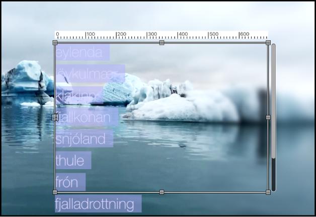 Canevas affichant le champ de saisie de texte redimensionné avec l'outil Texte