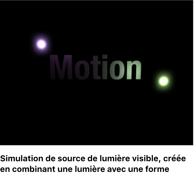 Canevas affichant la source de lumière visible simulée