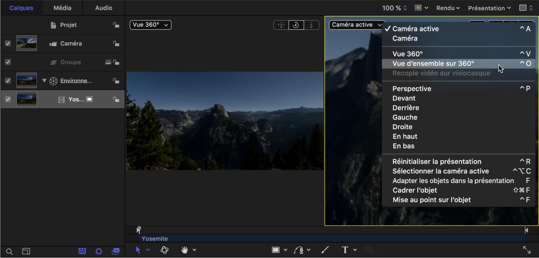 Sélection de l'option «Vue d'ensemble sur 360°» dans le menu local Caméra dans le canevas
