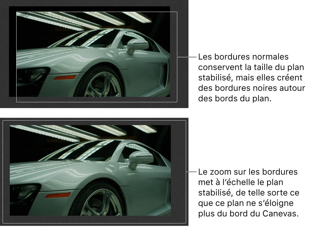 Canevas affichant le comportement Stabiliser appliqué à un plan et avec l'option Contours définie sur Normal, et cette même configuration avec l'option Contours définie sur Zoom