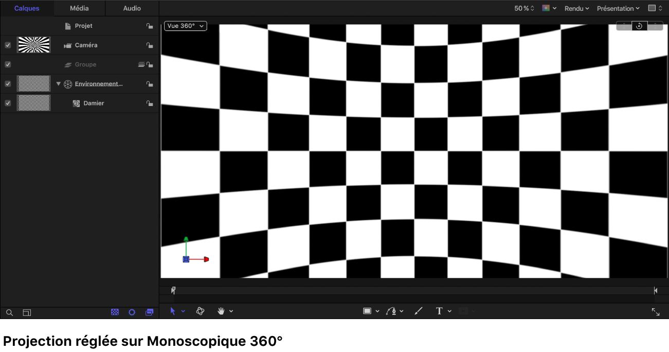 Canevas avec un générateur Damier affiché dans la projection monoscopique 360°