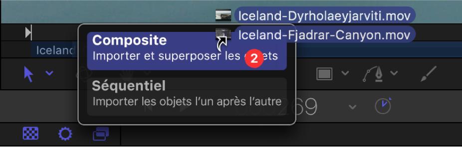 Mini-timeline montrant les options de dépôt pour plusieurs sélections d'objets.