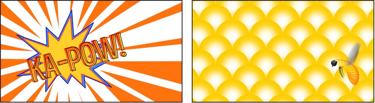 Exemples d'éléments graphiques créés à l'aide de générateurs